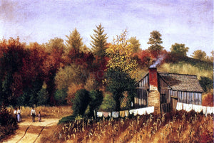 William Aiken Walker Autumn Scene in North Carolina with Cabin, Wash Line, and Cornfield - Canvas Art Print