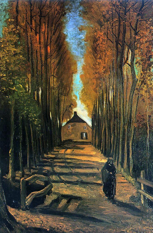 Vincent Van Gogh Avenue of Poplars at Sunset - Canvas Art Print
