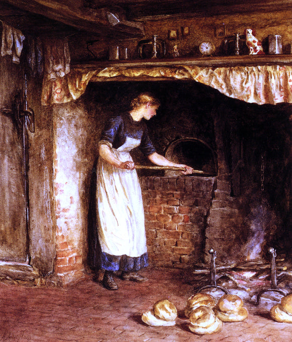 Helen Allingham Baking Bread - Canvas Art Print