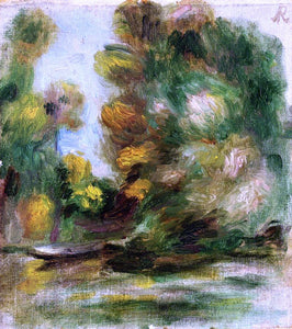 Pierre Auguste Renoir Banks of the River, a Boat - Canvas Art Print