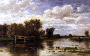 Willem Roelofs Banks of the River Gein, Holland - Canvas Art Print