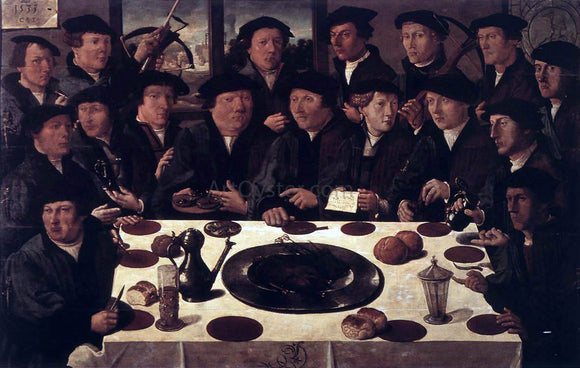 Cornelis Anthonisz Banquet of Members of Amsterdam's Crossbow Civic Guard - Canvas Art Print