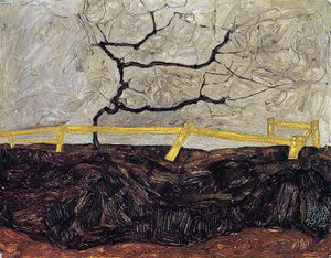 Egon Schiele Bare Tree behind a Fence - Canvas Art Print