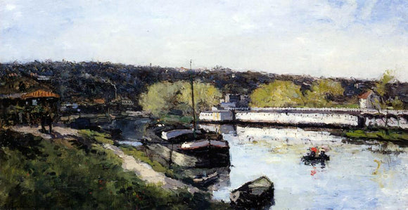 Albert Lebourg Barge on the Seine at Basd-Meudon - Canvas Art Print