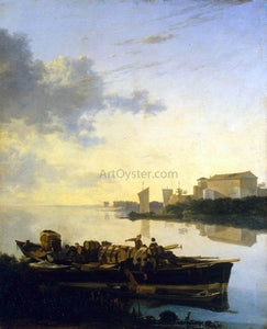 Adam Pynacker Barges on a River - Canvas Art Print