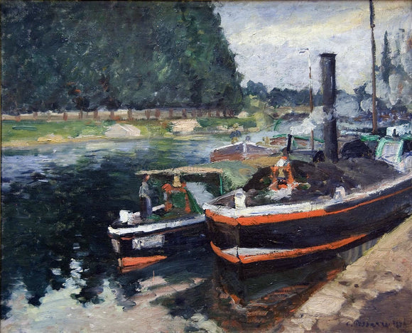 Camille Pissarro A Barge on Pontoise - Canvas Art Print