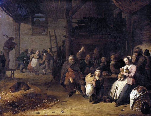 Pieter De Bloot Barn Interior - Canvas Art Print