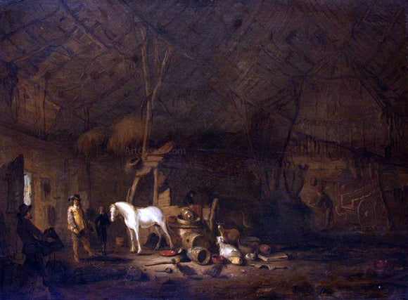 Egbert Van der Poel The Barn Interior - Canvas Art Print
