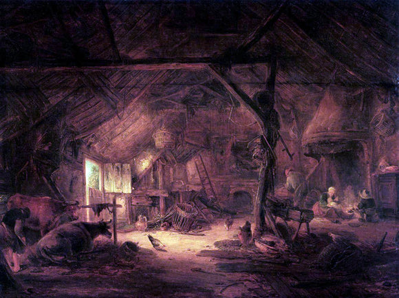 Isaac Van Ostade Barn Interior - Canvas Art Print