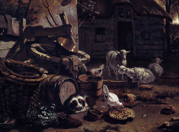 Egbert Van der Poel The Barnyard Scene (detail) - Canvas Art Print