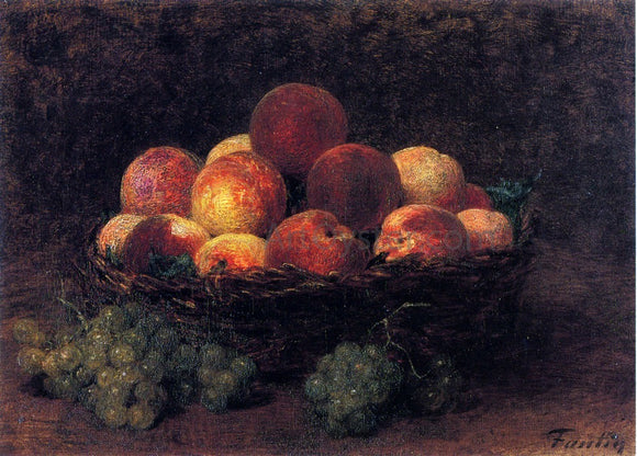 Henri Fantin-Latour Basket of Peaches - Canvas Art Print