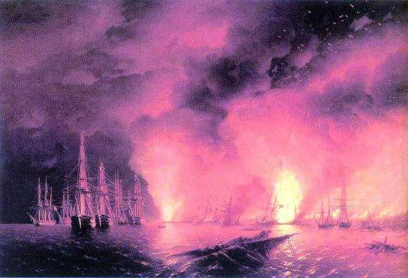 Ivan Constantinovich Aivazovsky Battle near Sinop - Canvas Art Print