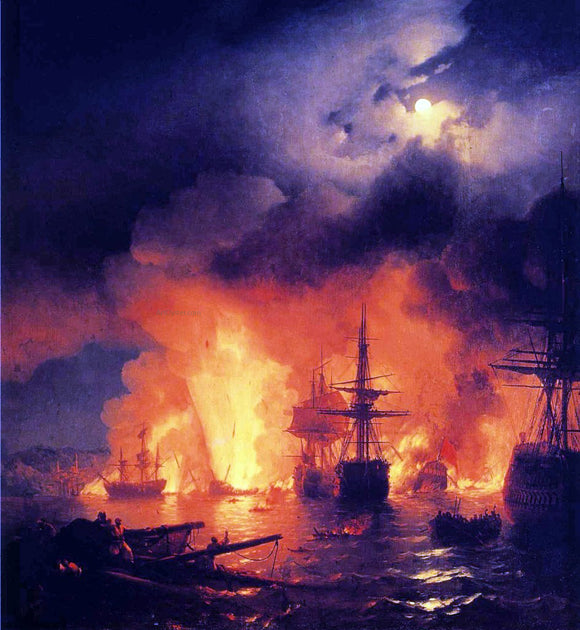 Ivan Constantinovich Aivazovsky Battle of Atesme at Night - Canvas Art Print