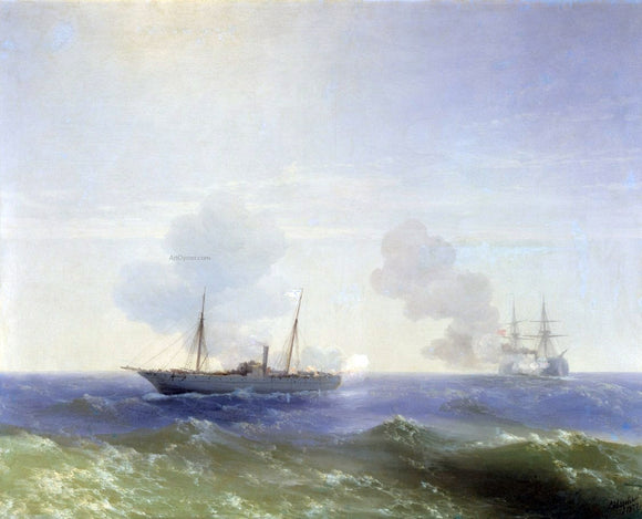 Ivan Constantinovich Aivazovsky Battle of steamship Vesta and Turkish ironclad. - Canvas Art Print