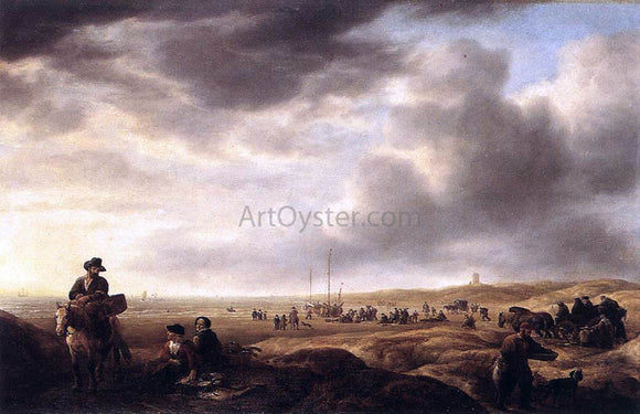 Simon De Vlieger Beach near Scheveningen with Fish-Sellers - Canvas Art Print