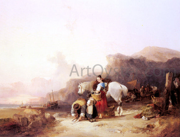 Senior William Shayer Beach Scene with Fisherfolk - Canvas Art Print
