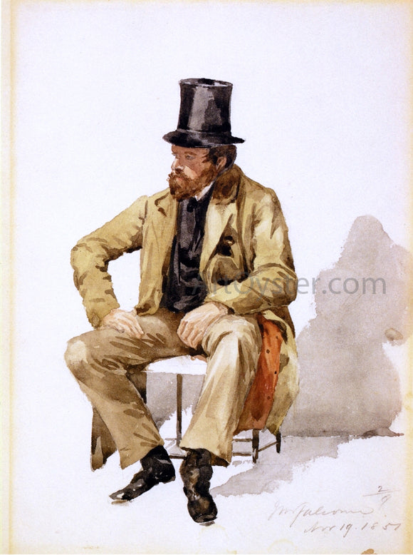 John Mackie Falconer Bearded Man in Tall Hat and Long Coat - Canvas Art Print