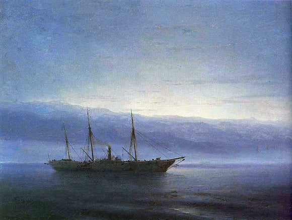 Ivan Constantinovich Aivazovsky Before battle, Ship 'Constantinople' - Canvas Art Print
