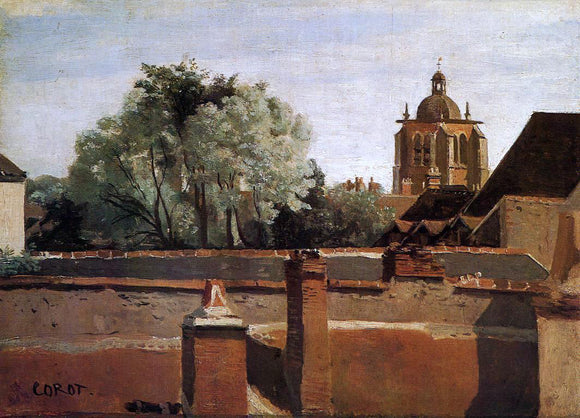 Jean-Baptiste-Camille Corot Bell Tower of the Church of Saint-Paterne at Orleans - Canvas Art Print