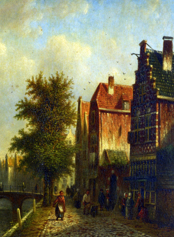 Johannes Franciscus Spohler Beside The Canal - Canvas Art Print