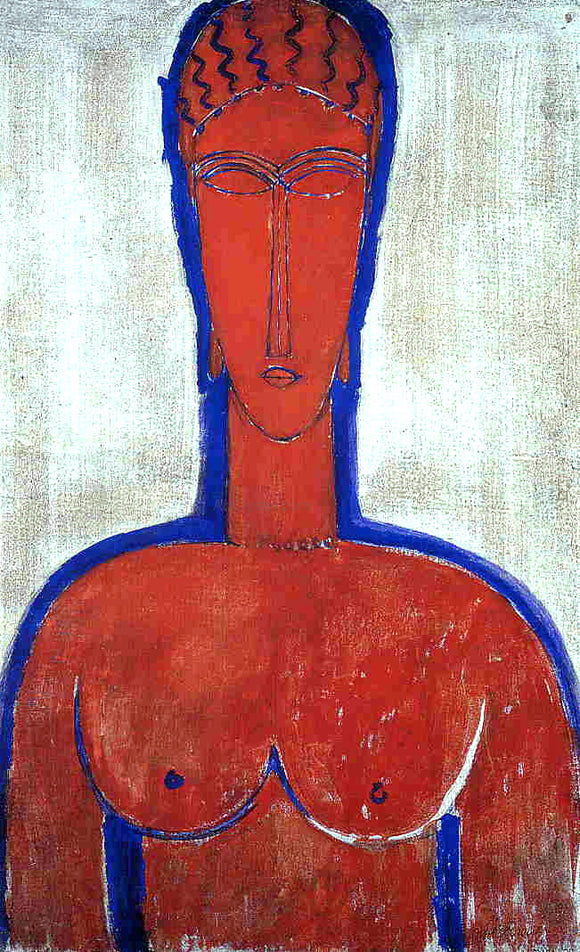 Amedeo Modigliani Big Red Buste (also known as loopold II) - Canvas Art Print