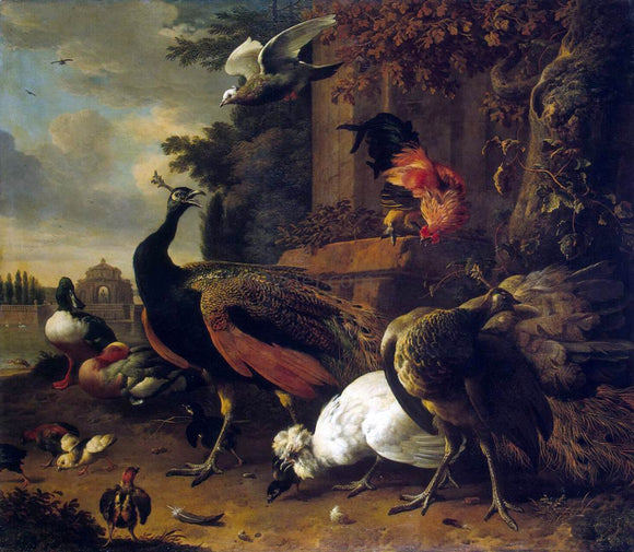 Melchior D'Hondecoeter Birds in a Park - Canvas Art Print