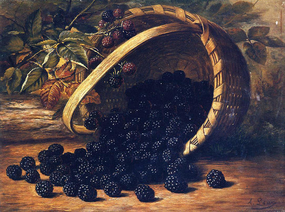 August Laux Blackberries in a Basket - Canvas Art Print