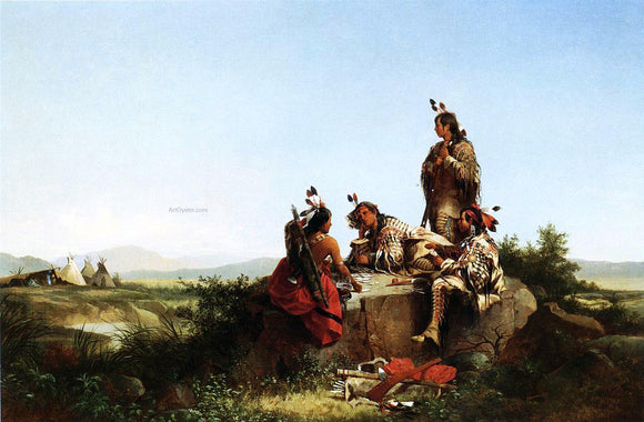 John Mix Stanley Blackfeet Card Players - Canvas Art Print