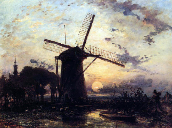 Johan Barthold Jongkind Boatman by a Windmill at Sundown - Canvas Art Print