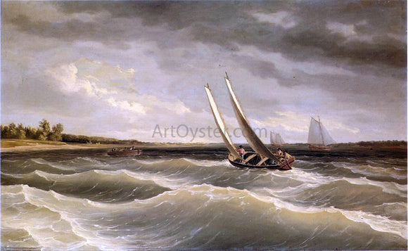 Thomas Birch Boats Navigating the Waves - Canvas Art Print