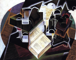 Juan Gris Book, Pipe and Glasses - Canvas Art Print