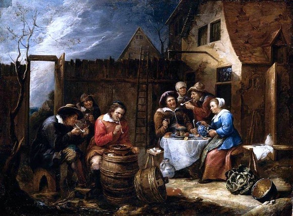Gillis Van Tilborgh Boors Eating Drinking and Smoking Outside a Cottage - Canvas Art Print