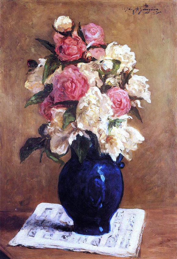 Paul Gauguin Bouquet of Peonies on a Musical Score - Canvas Art Print