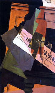 Juan Gris Bottle, Glass and Newspaper - Canvas Art Print
