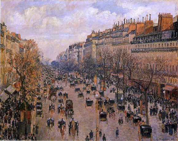 Camille Pissarro Boulevard Montmartre: Afternoon, Sunlight (also known as Boulevard Montmartre: Apres-midi, soleil) - Canvas Art Print
