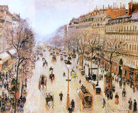 Camille Pissarro Boulevard Montmartre: Morning, Grey Weather - Canvas Art Print