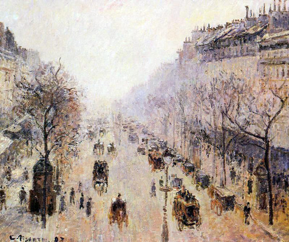 Camille Pissarro Boulevard Montmartre: Morning, Sunlight and Mist - Canvas Art Print