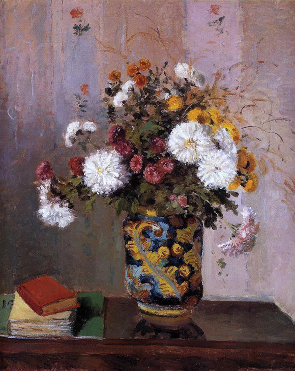 Theodore Robinson Bouquet of Flowers: Chrysanthemums in a China Vase - Canvas Art Print