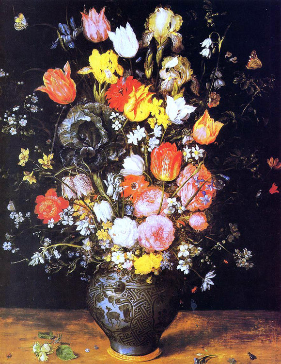 The Elder Jan Bruegel Bouquet of Flowers in a Blue Vase - Canvas Art Print