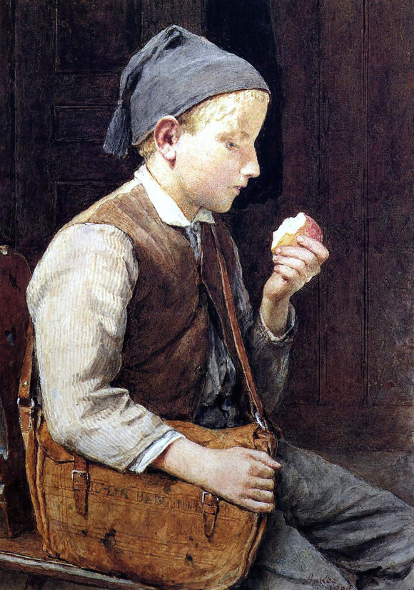 Albert Anker Boy Eating an Apple - Canvas Art Print