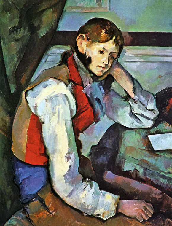 Paul Cezanne Boy in a Red Vest - Canvas Art Print