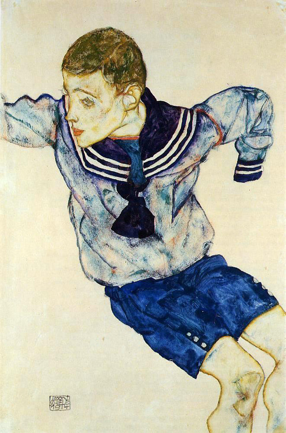 Egon Schiele Boy in a Sailor Suit - Canvas Art Print