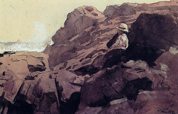 Winslow Homer Boy on the Rocks - Canvas Art Print