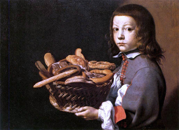 Evaristo Baschenis Boy with a Basket of Bread - Canvas Art Print