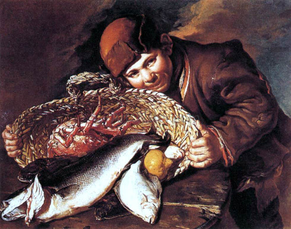 Giacomo Ceruti Boy with a Basket of Fish - Canvas Art Print