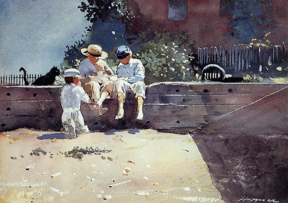 Winslow Homer Boys and Kitten - Canvas Art Print