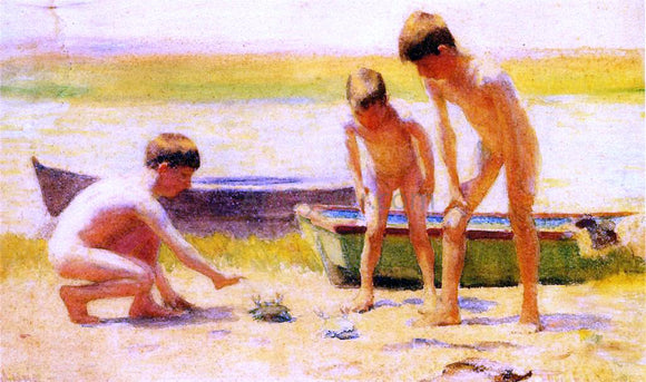 Thomas Pollock Anschutz Boys Playing with Crabs - Canvas Art Print