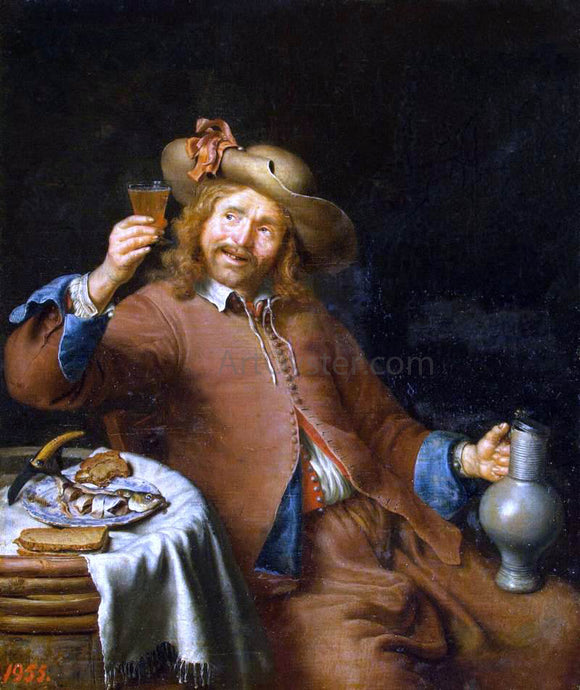 Pieter Cornelisz. Van Slingelandt Breakfast of a Young Man - Canvas Art Print