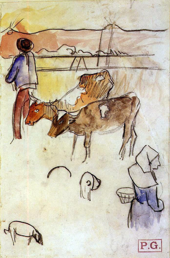 Paul Gauguin Bretons and Cows (sketch) - Canvas Art Print