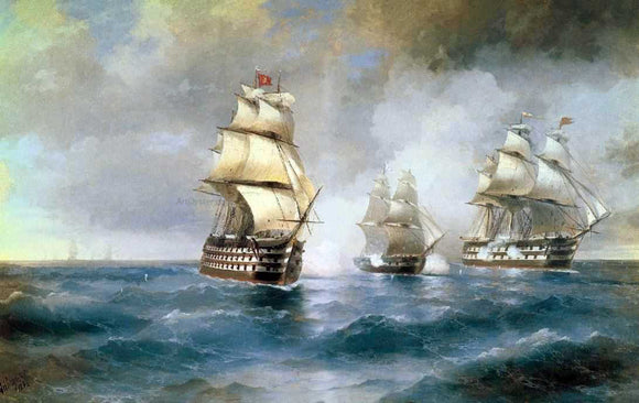 Ivan Constantinovich Aivazovsky Brig Mercury Attacked of Two Turkish Battleships - Canvas Art Print